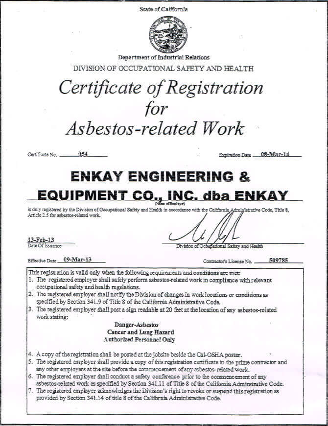 Asbestos Removal Certification