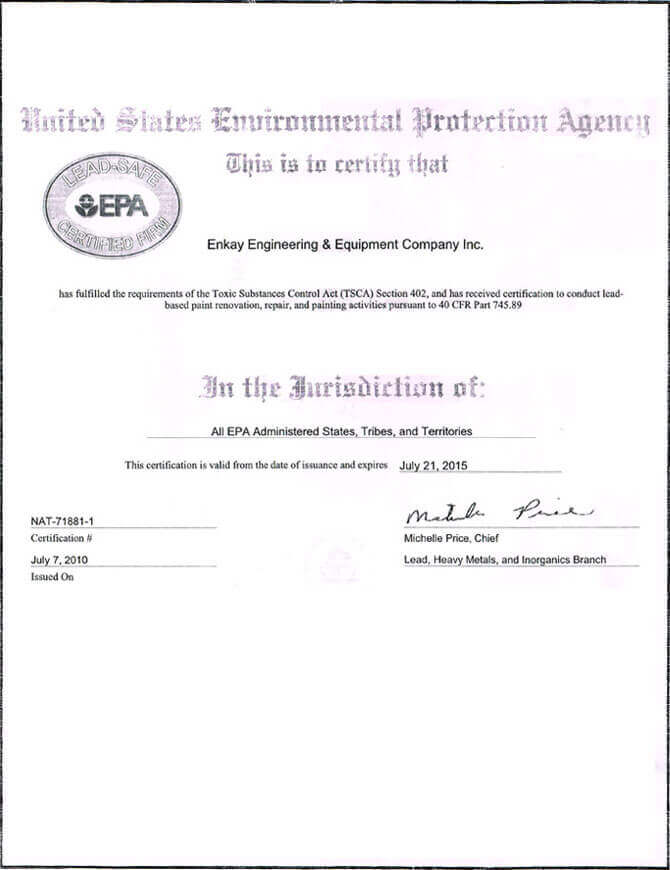 United States Environment Protection Agency Certified